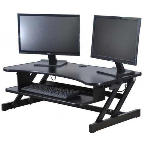 "Rocelco DADR Deluxe Extra-Wide 37"" Sit To Stand Adjustable Height Desk Riser - Precision Toner"