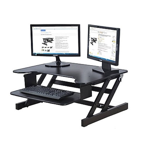 "Rocelco EADR 32"" Sit To Stand Ergonomic Adjustable Height Desk Riser w/ Easy Up-Down Handles - Precision Toner"