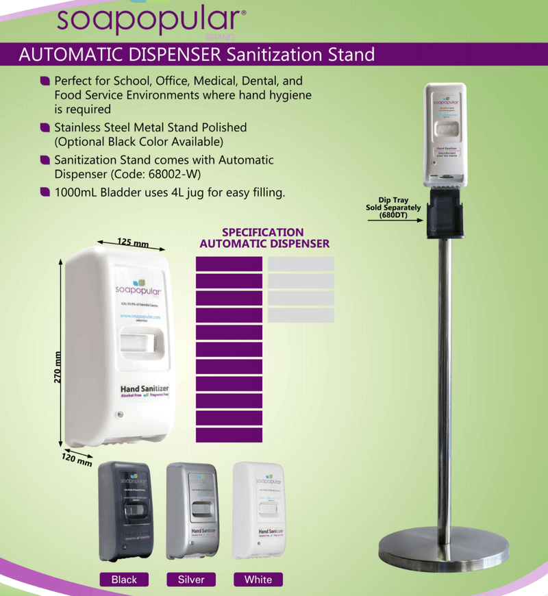 Absolute Toner COMBO PROMO- 4 LITER HAND SANITIZER REFILL +  Automatic Dispenser (Silver) STAND #1 BRAND Soapopular Sanitizer