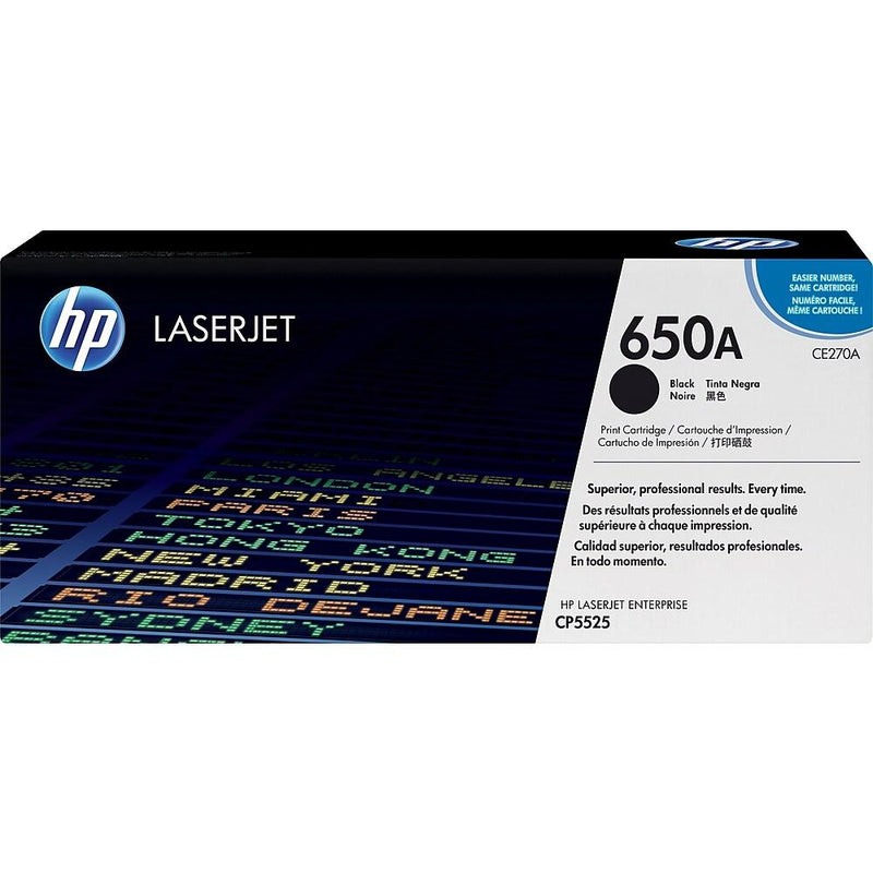 HP 650A (CE270A) Black Original LaserJet Toner Cartridge - Precision Toner