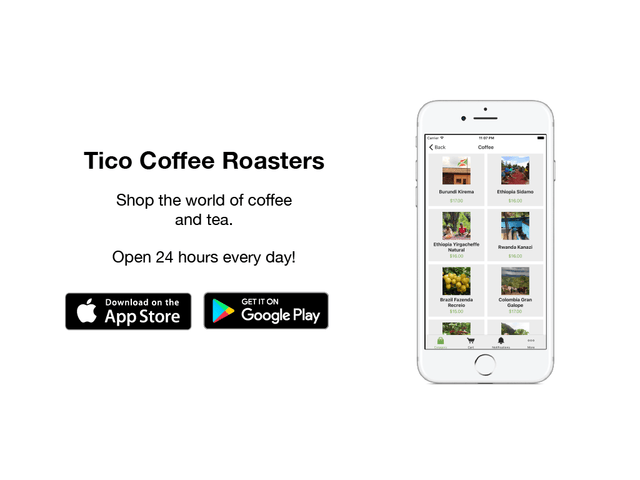 Tico Coffee Roasters Mobile App now also available for Android