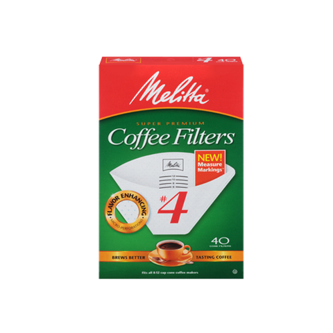 Melitta #4 Cone Filter Paper White 40-Count - Tico Coffee Roasters