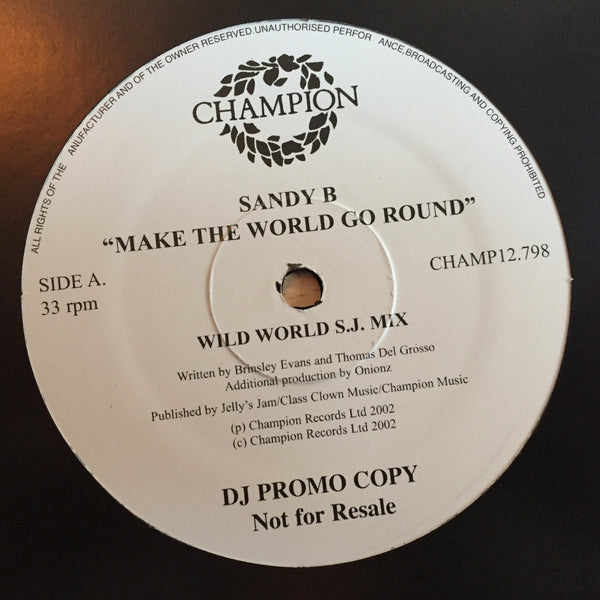 "Sandy B - Make The World Go Round - DJ Promo (12"" Vinyl)"