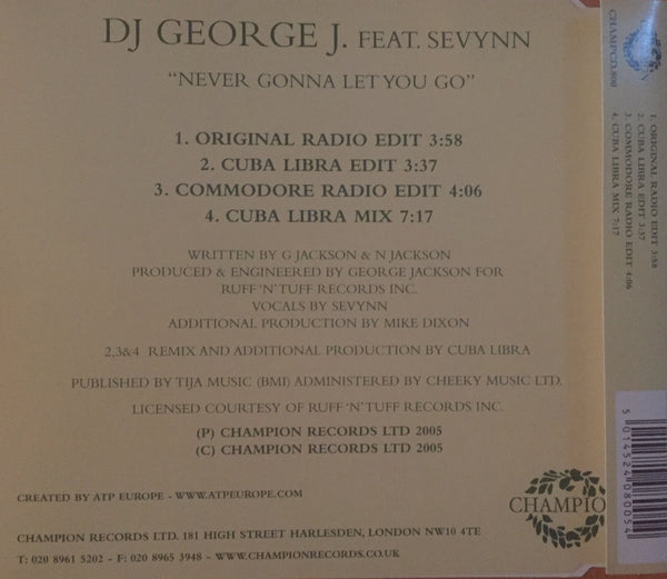 DJ George J featuring Sevynn - Never Gonna Let You Go (CD Single)