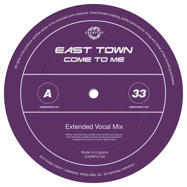 "East Town - Come To Me (12"" Vinyl)"
