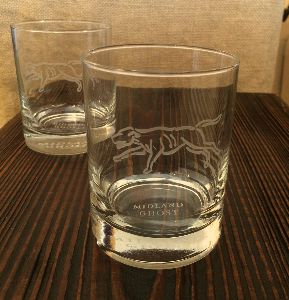 Etched Foxhound Old Fashioned Glasses