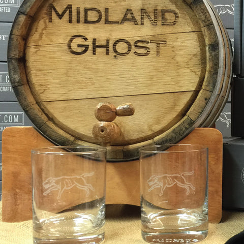 Etched Foxhound Old Fashioned Glasses with Barrel
