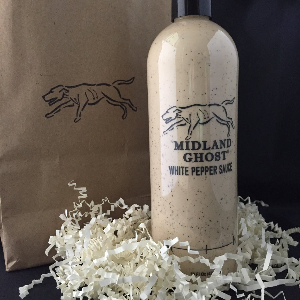 Midland Ghost White Pepper Sauce with Peppers and Barrel