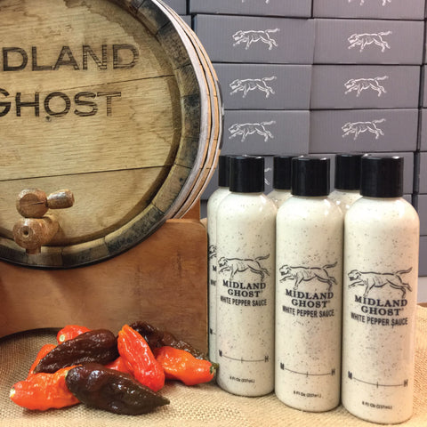 Midland Ghost White Pepper Sauce with Peppers and Barrel (1 case)