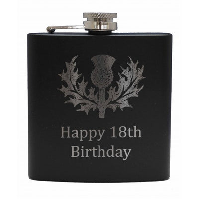 6oz Matt Black Hip Flask (Thistle + one of 4 standard messages)