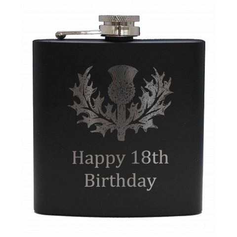 6 oz Matt Black Hip Flask (with message)