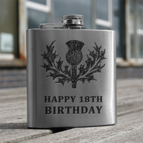 6oz Stainless Steel Hip Flasks Thistle (with Message)