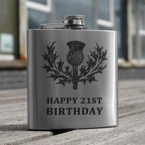 6oz Stainless Steel Hip Flask (Thistle + one of 4 standard messages)