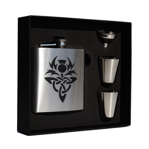 6oz Hip Flask Box Set (Stainless Steel and Matt Black)