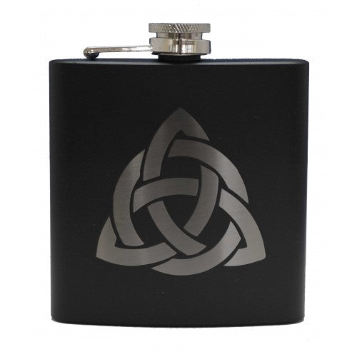 6oz Matt Black Hip Flask (various designs)