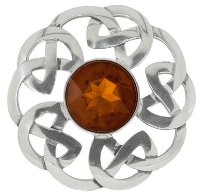 Plaid Brooch Celtic Interlace with Stone