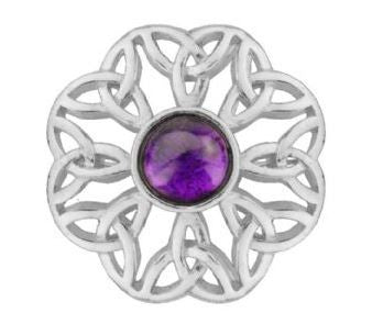 Celtic Pewter Brooch (amethyst) -