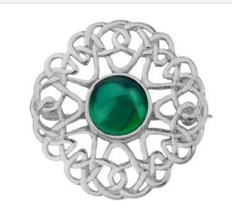 Celtic Pewter Brooch (green) -