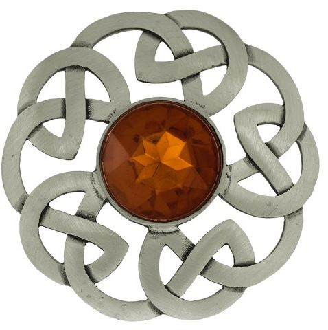 Plaid Brooch Celtic Interlace Antique with Stone