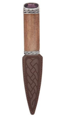 Red Shisham Celtic Sgian Dubh With Stone Top