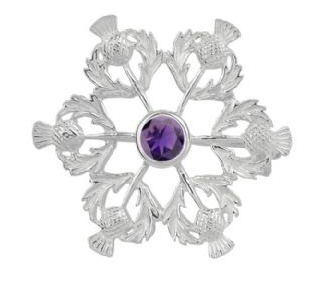 Scottish Thistle Silver Brooch