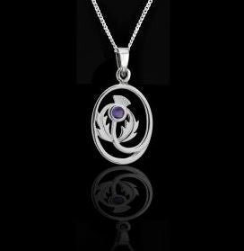 Scottish Thistle Silver Pendant -