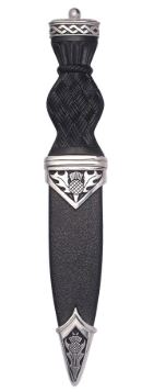 Thistle Polished Sgian Dubh With Plain (Ball) Top