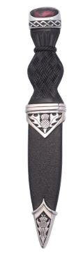 Thistle Polished Sgian Dubh With Stone Top