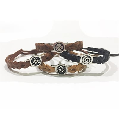 Celtic Leather Wristband, muted