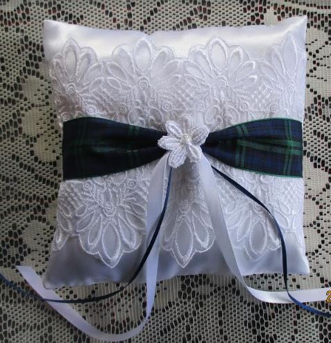 Ring Cushion, Satin with Tartan Trim
