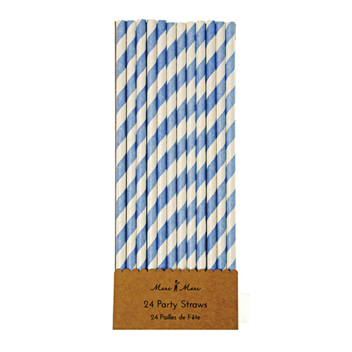 Blue and White Party Straw