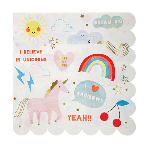 Unicorn + Rainbow Napkins - Large