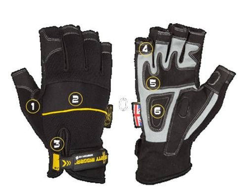 Dirty Rigger Comfort Fit Mens Fingerless Rigging / Operator Gloves