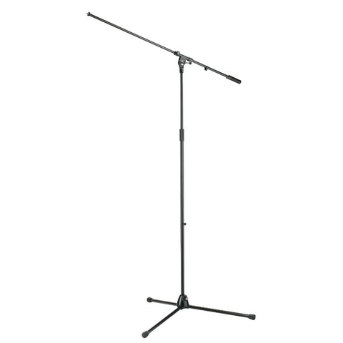 K&M Stands 21021 Overhead Mic Boom Stand with Long Column & Legs Black