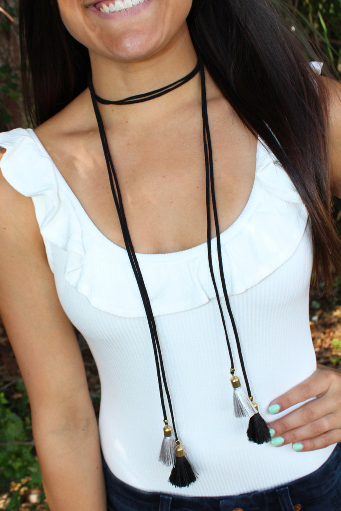 Long Tassel Wrap Necklace