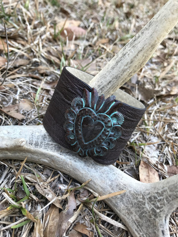Brown Leather Patina Heart Cuff