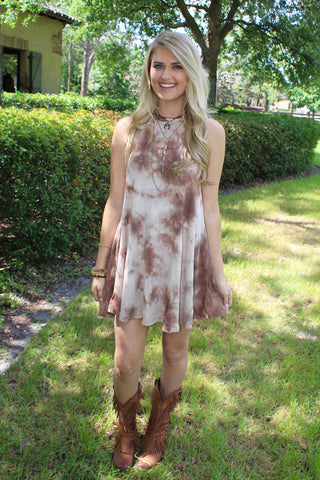 Tie Dye Swing Dress - Camel