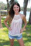Vintage Crochet Stripe Top