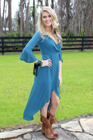 Vintage Teal Wrap Dress