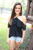Crochet Halter Top - Black