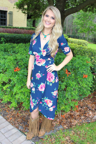 Swept Away Wrap Floral Dress