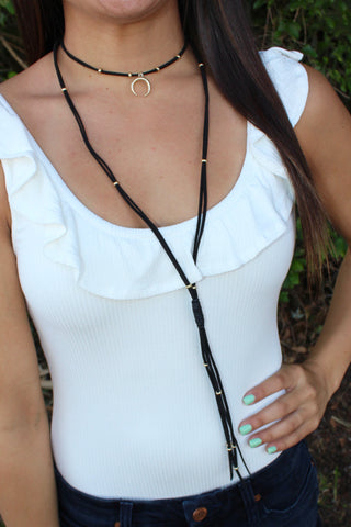 Lucky Moon Leather Choker
