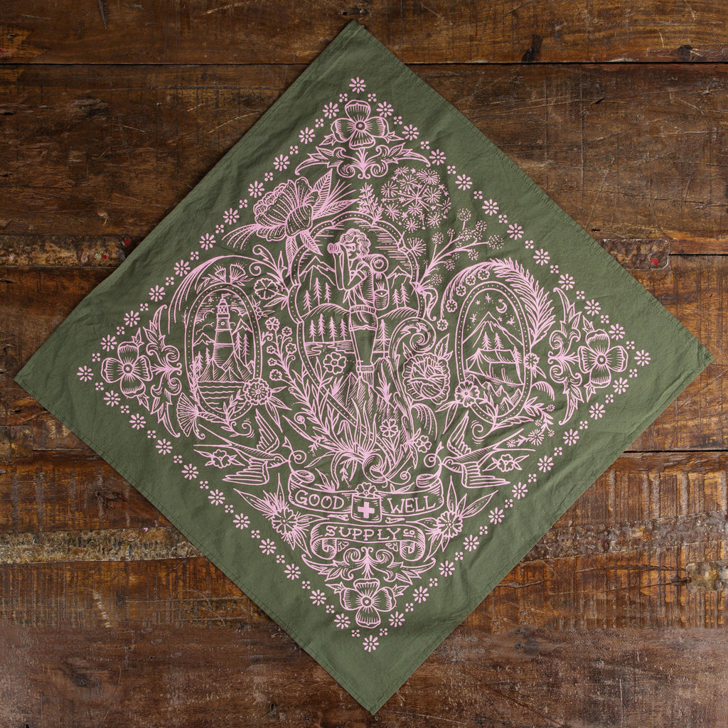 Olive/Pink Take a Hike Bandana