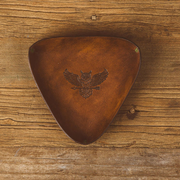Owl Logo Leather Valet Tray - Antique Brown