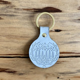 Firelight Gray Leather Keychain