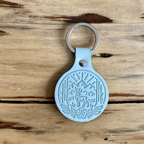 Pinewood Green Leather Keychain