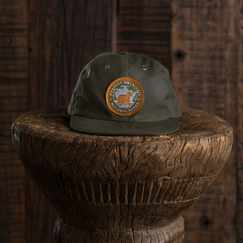 Protect National Parks Waxed Canvas Cap - Olive