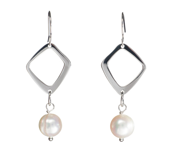 Freshwater Pearl Geo Earrings - Colors Available