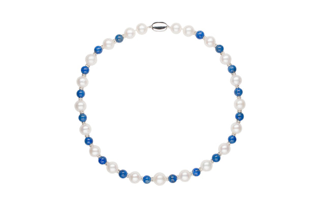 Elegance Lapis and Pearl Necklace Necklace Pearls by Shari