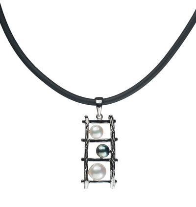 Teton Ladder Pendant Necklace Pearls by Shari
